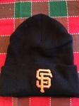 My Giants' knit hat, on a holiday background.